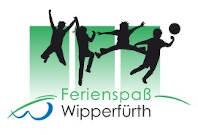 Logo Ferienspaß, vier Kinder in Bewegung, ein Ball
